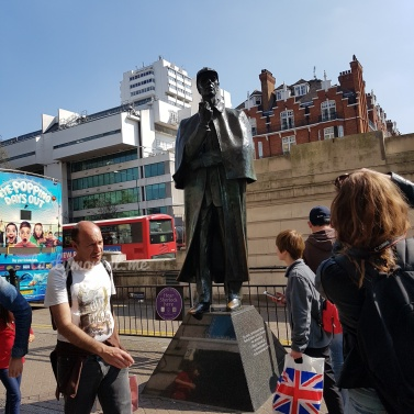 Sherlock Statue in front of Tube Station