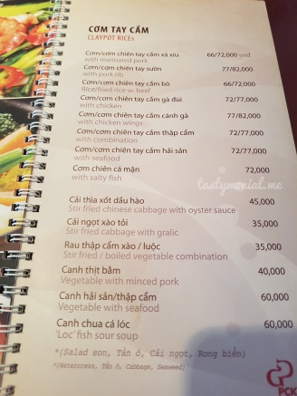 Clay pot menu ala carte