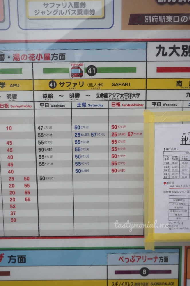 Bus 41 Schedule Beppu Safari