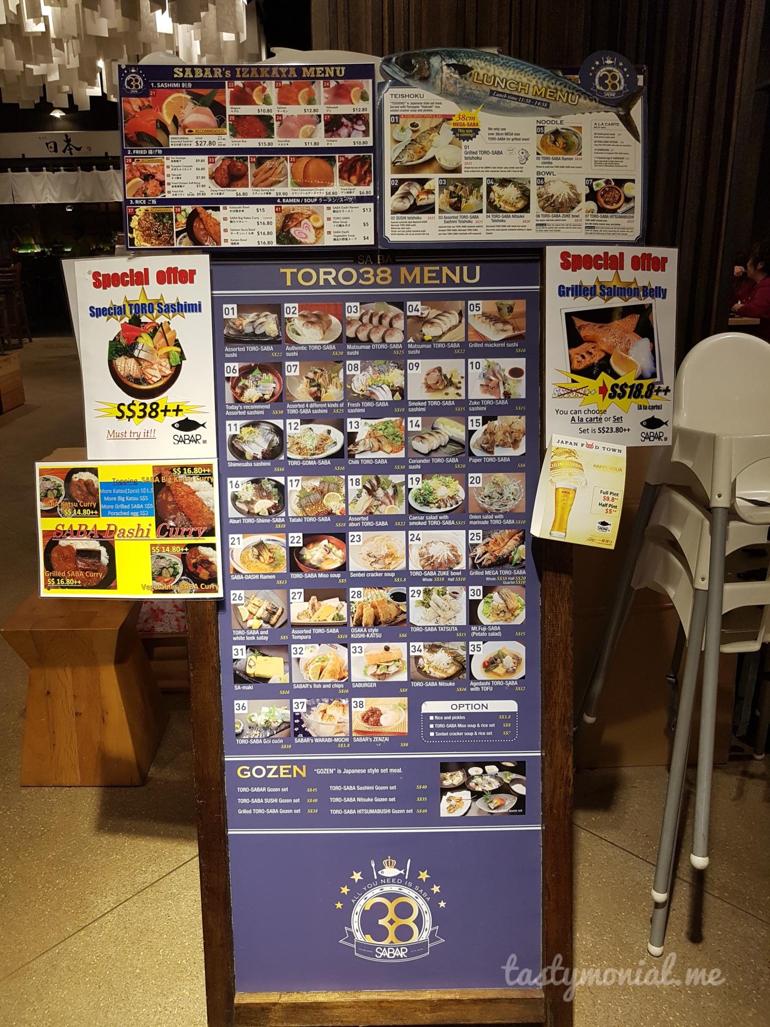 Toro38 Sabar Singapore menu