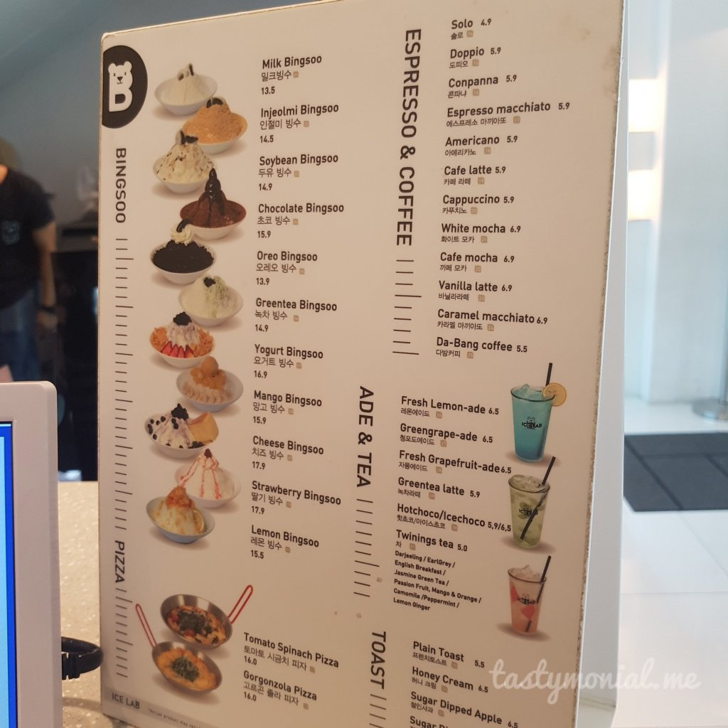 Ice Lab Bingsoo Singapore menu
