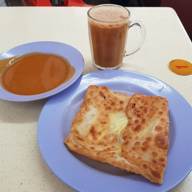 Roti Prata Cheese and Teh Tarik