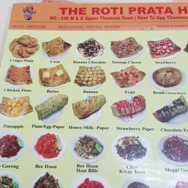 the roti prata house menu with picture