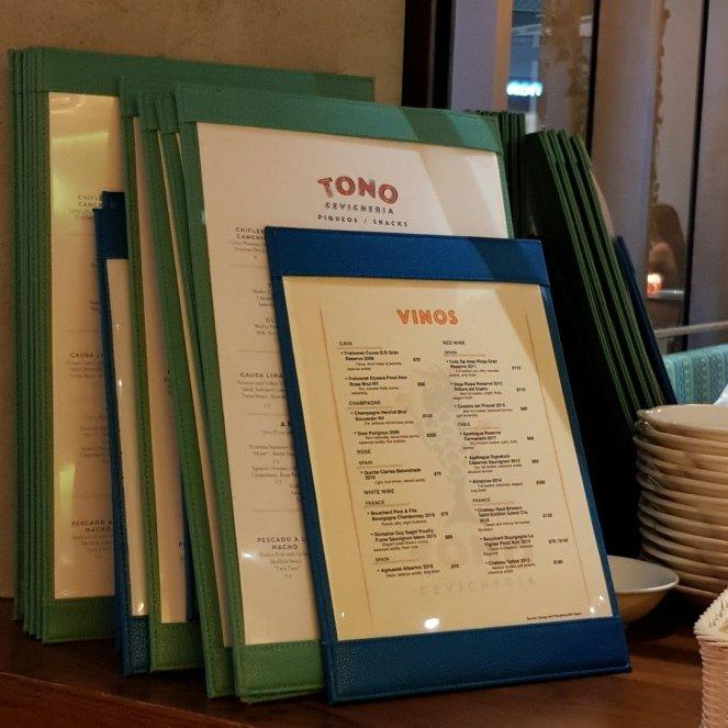 Tono cevicheria menu