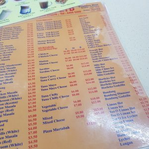 the roti prata house menu