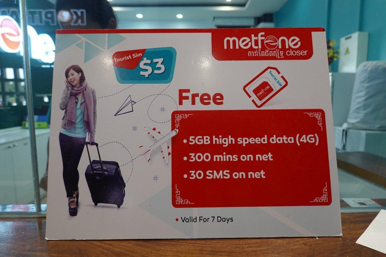 Metfone tourist sim card Siem Reap Cambodia