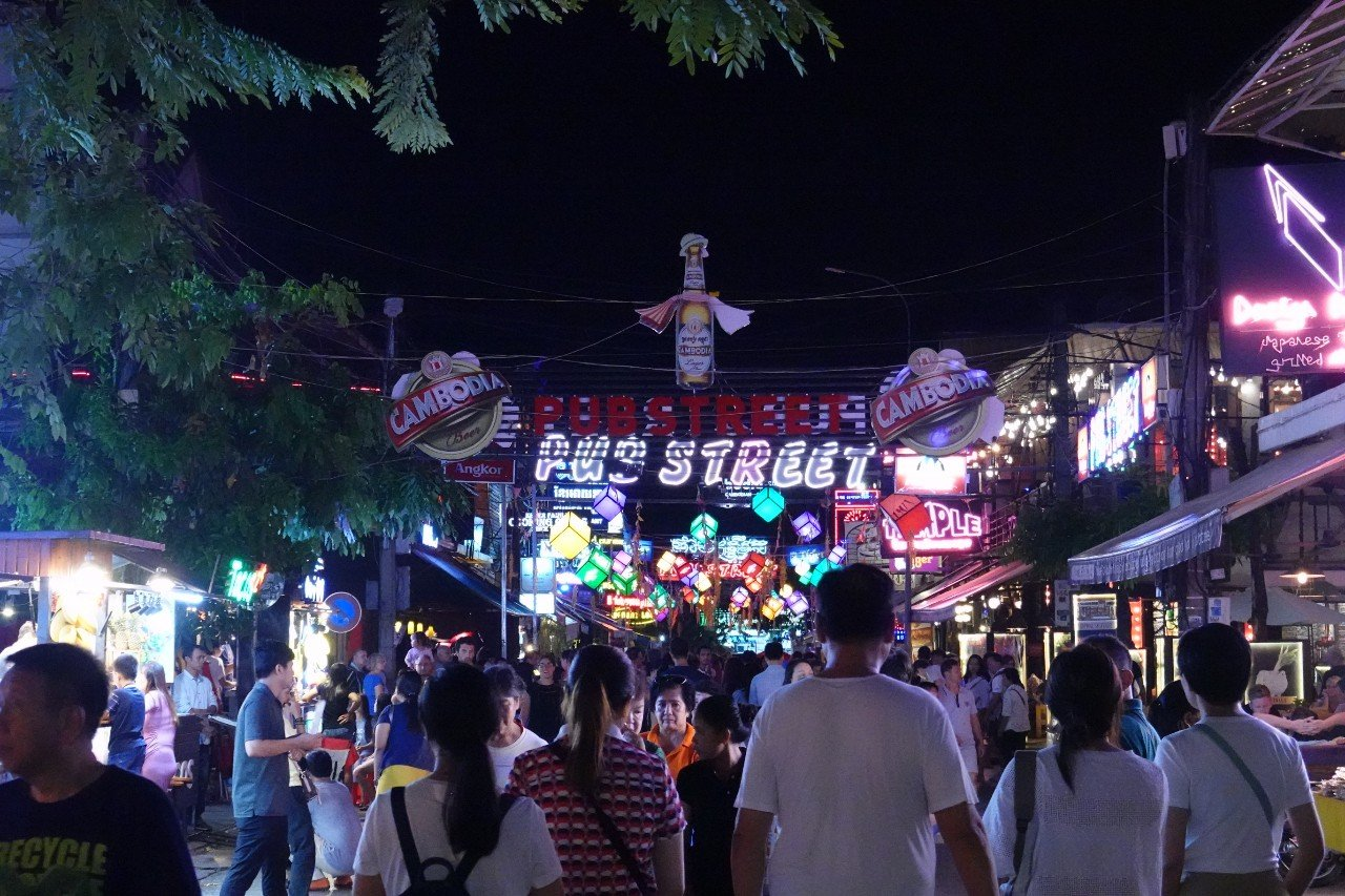 Pub Street Siem Reap Cambodia Night time