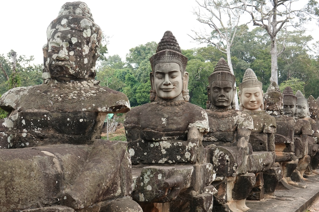 Sculptures on a bridge in Angkor Wat SIem Reap