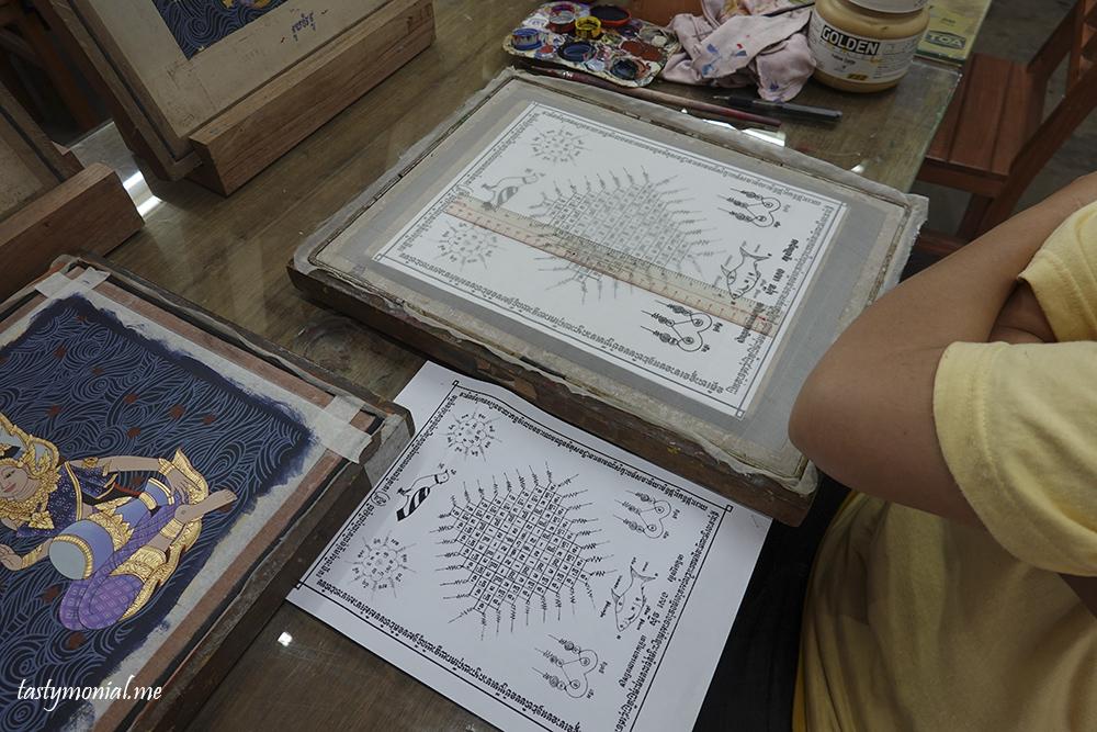 Silk Fabric painting artisan d'angkor cambodia